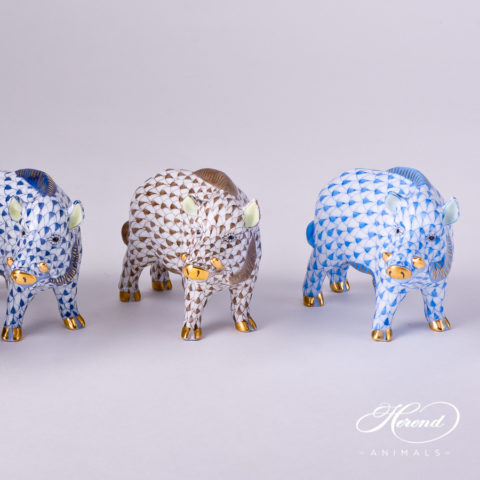 """Wild Boar Animal Figurine 15507-0-00 is available in  Navy Blue, Brown and Blue Fish scale decors. Herend fine china animal figurine. Hand painted. Length: 9.0 cm (3.5""""L)"""