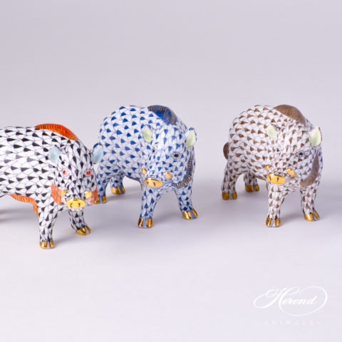 """Wild Boar Animal Figurine 15507-0-00 is available in Black, Navy Blue and Brown Fish scale decors. Herend fine china animal figurine. Hand painted. Length: 9.0 cm (3.5""""L)"""