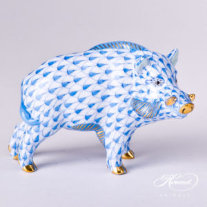 "Wild Boar 15507-0-00 VHB Blue Fish scale decor. Herend fine china animal figurine. Hand painted. Length: 9.0 cm (3.5""L)"