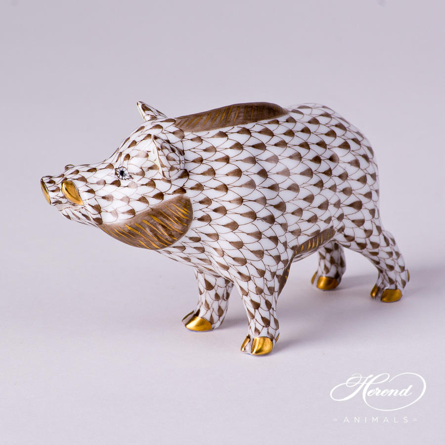 "Wild Boar 15507-0-00 VHBR1 Brown Fish scale decor. Herend fine china animal figurine. Hand painted. Length: 9.0 cm (3.5""L)"