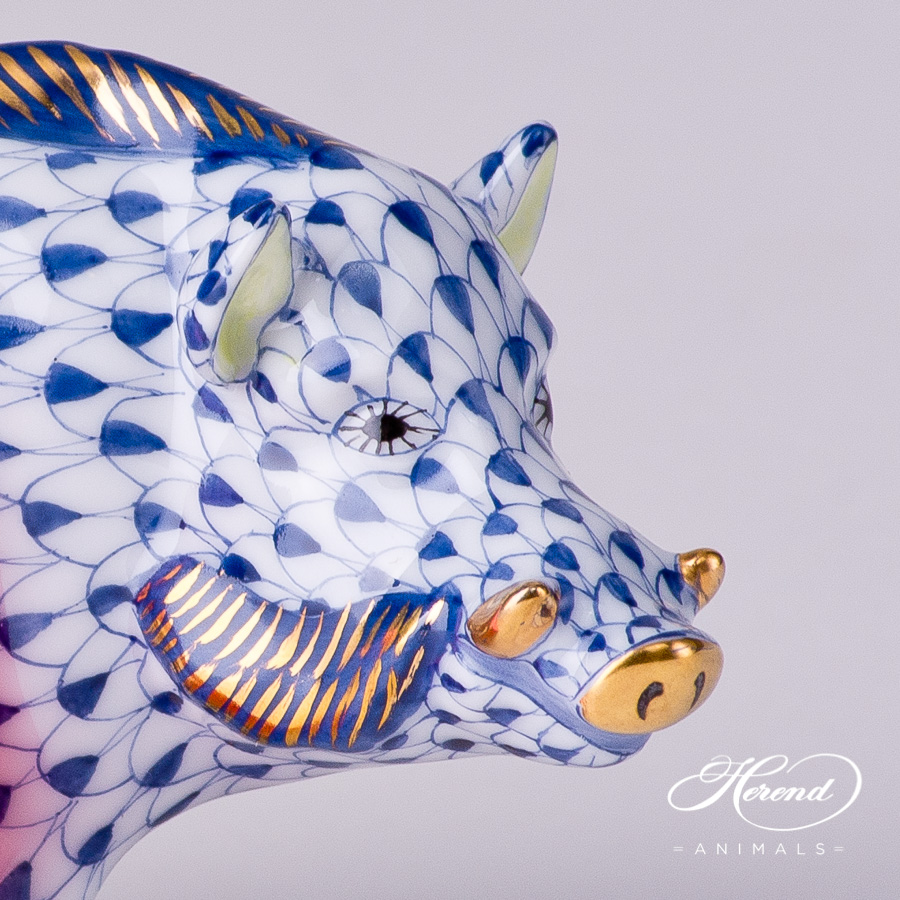 """Wild Boar 15507-0-00 VHFB Navy Blue Fish scale decor. Herend fine china animal figurine. Hand painted. Length: 9.0 cm (3.5""""L)"""