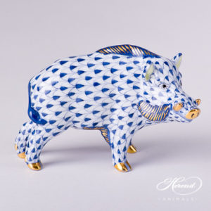 "Wild Boar 15507-0-00 VHFB Navy Blue Fish scale decor. Herend fine china animal figurine. Hand painted. Length: 9.0 cm (3.5""L)"