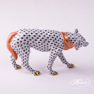 "Wolf 5385-0-00 VHN Black Fish scale design. Herend fine china animal figurine. Handpainted. Length: 19 cm (7.5""L)."