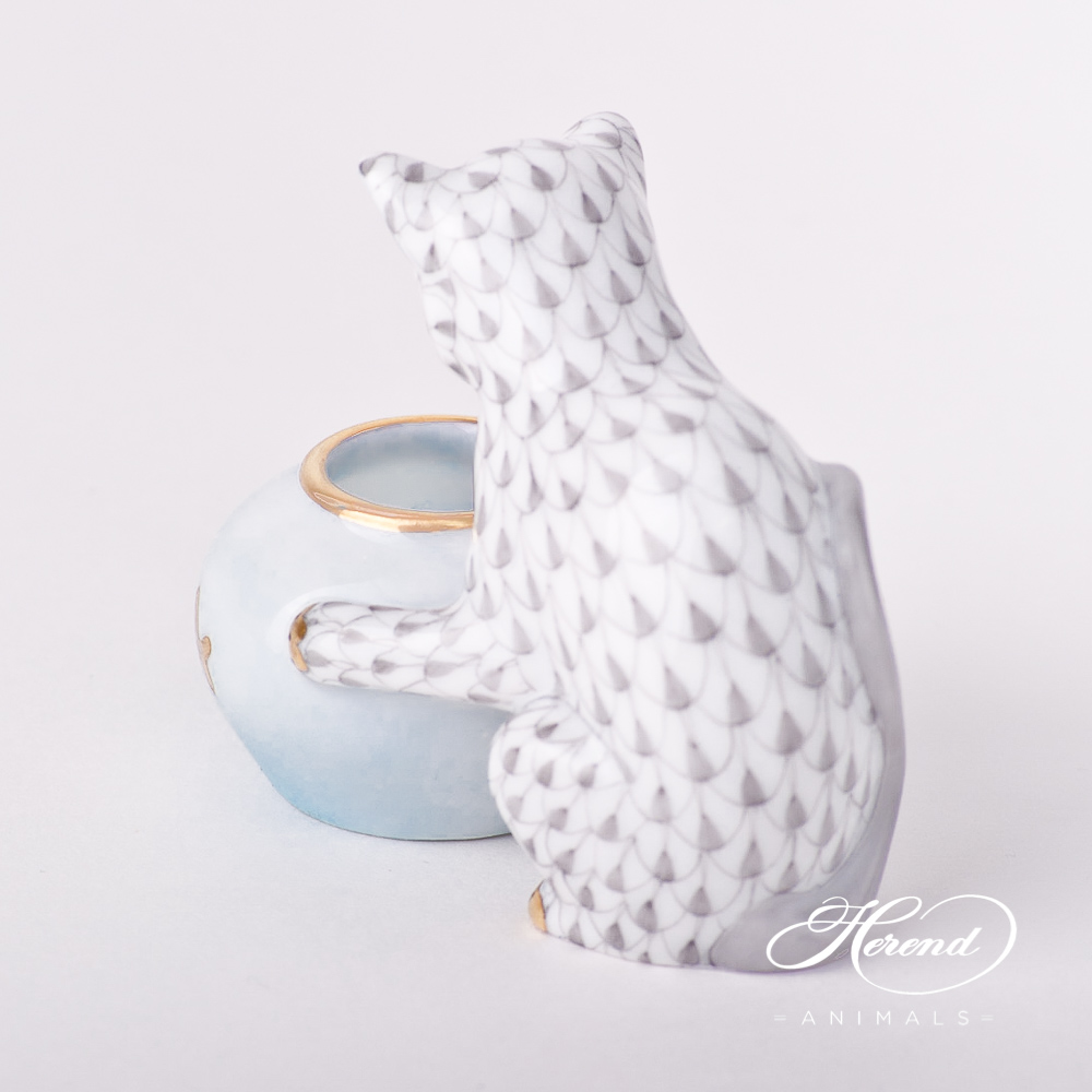 "Cat w. Aquarium 15710-0-00 VHG Grey Fish scale design. Herend fine china animal figurine. Hand painted. Height: 6 cm (2.5""H)."