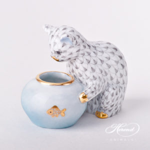 "Cat w. Aquarium 15710-0-00 VHG Grey Fish scale design. Herend fine china animal figurine. Hand painted. Height: 6 cm (2.5""H)."