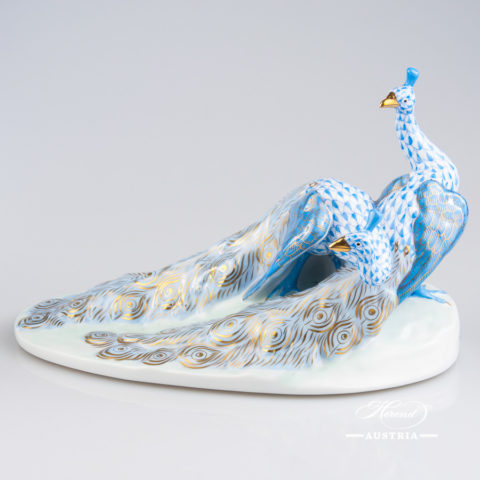 "Pair of Peacocks 5114-0-00 VHBM Blue Fish Scale w. Gold design. Herend fine china animal figurine. Handpainted. Length: 21.5 cm (8.5""L)."