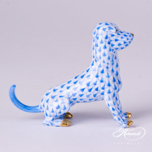 "Dog 15509-0-00 VHB Blue Fish scale decor. Herend fine china animal figurine. Hand painted. Length: 10.0 cm (4""L)"
