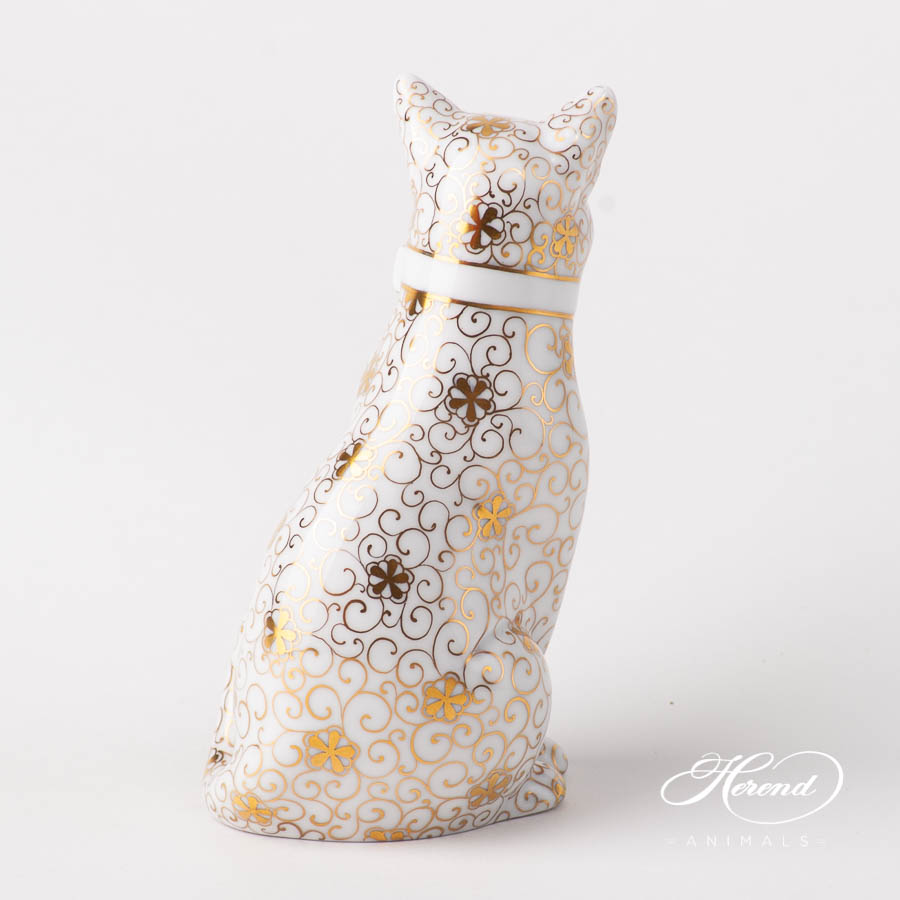 Cat with Ribbon 15319-0-00 NCS-7 Special Gold design. Herend fine china