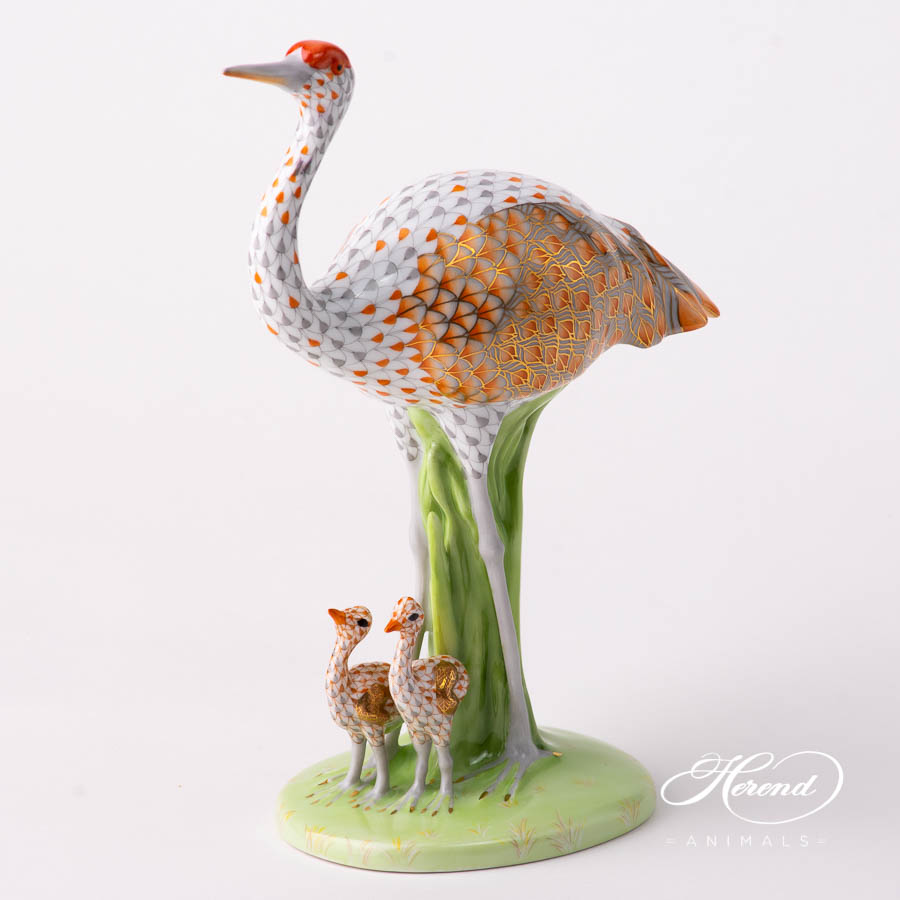 Sandhill Crane with Babies 16100-0-00 VHSP131 Special Fish scale design. Herend fine china