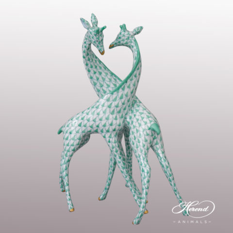 "Pair of Giraffes 15283-0-00 VHV Green Fish scale design. Herend fine china animal figurine. Handpainted. Height 19.5 cm (7.5""H)."