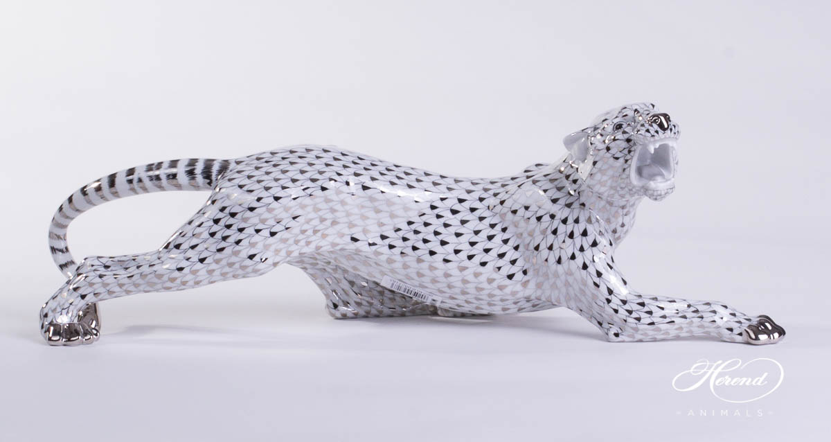 """Big Tiger 5209-0-00 PTVH Platinum Fish Scale special new design. Herend fine china animal figurine. Hand painted. Length: 45 cm (17.75""""L)."""