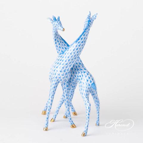 Pair of Giraffes 15283-0-00 VHB BlueFish scale design. Herend fine china