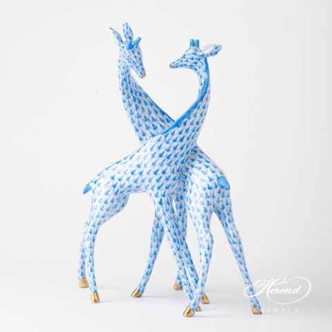 Pair of Giraffes 15283-0-00 VHB Blue Fish scale design. Herend fine china