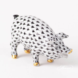 Pig 15301-0-00 VHNM Black Fish scale design. Herend fine china