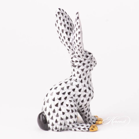 Rabbit 15929-0-00 VHNM Black Fish scale design. Herend fine china