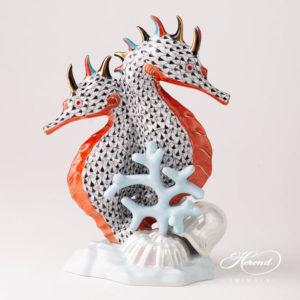 Seahorse 5252-0-00 VHN Black Fish scale design. Herend fine china