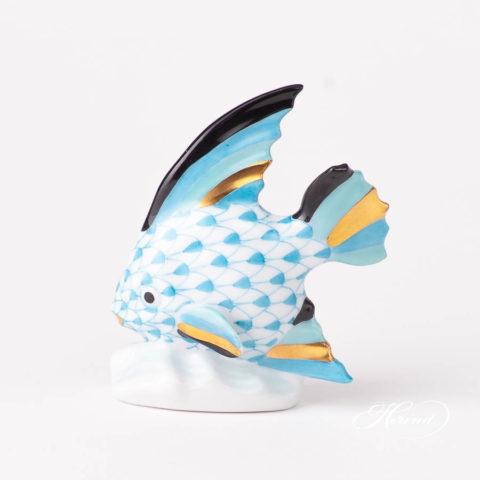 Sailing Fish 5295-0-00 VHTQ Turquoise Fish scale design. Herend fine china