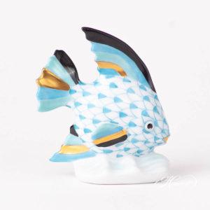 Sailing Fish 5295-0-00 VHTQ Turquoise Fish scale design. Herend fine china