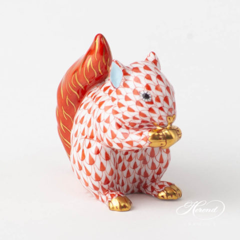Small Squirrel 15716-0-00 VHR RedFish scale design. Herend fine china