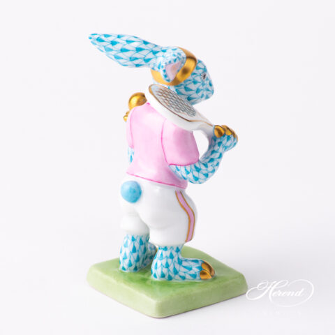 Tennis Bunny / Rabbit 5711-0-00 VHTQ Turquoise fish scale pattern. Herend fine china