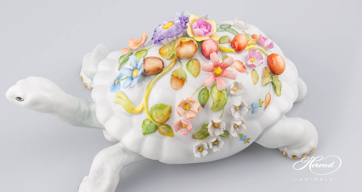Turtle with Flowers and Fruits applications is painted in Natural (CD) Special design. Herend fine china
