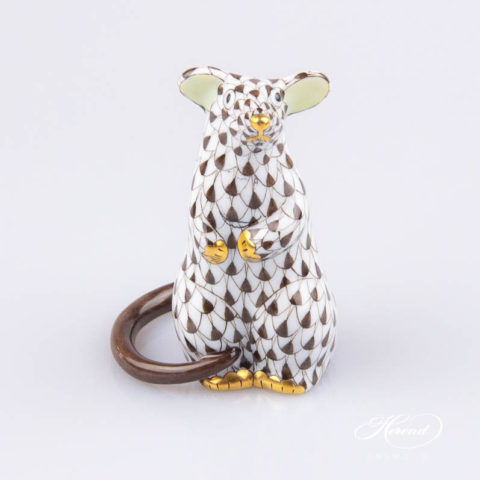 "Mouse 15892-0-00 VHBR1 Brown Fish scale decor. Herend fine china animal figurine. Hand painted. Height: 7.0 cm (2.75""H)"